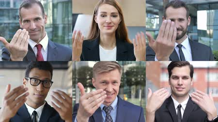 beckoning : Collage of Business People Inviting by Hand gesture