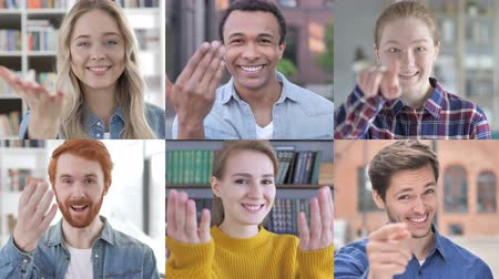 beckoning : Collage of Young People Inviting by Hand gesture Stock Footage