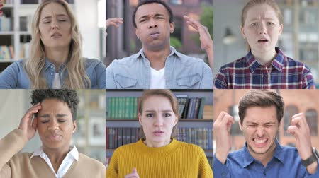disapprove : Collage of Young People Expressing Loss With Hands Stock Footage