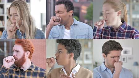 smíšené rasy osoba : Collage of Young People Coughing
