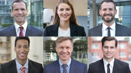 expressão facial : Collage of Business People Looking At the Camera And Smiling