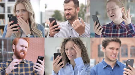 поражение : Collage of Young People in Shock while Using Smartphone Стоковые видеозаписи