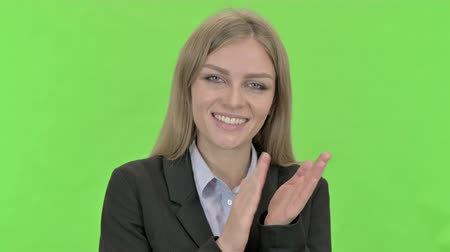 clapping : Cheerful Young Businesswoman doing Clapping against Chroma Key Stock Footage