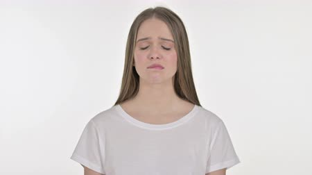 white out : Upset Beautiful Young Woman Crying, White Background