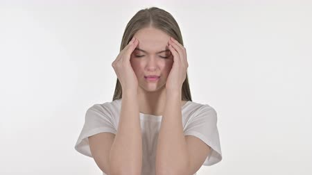 irritatie : Portrait of Tired Beautiful Young Woman having Headache Stockvideo