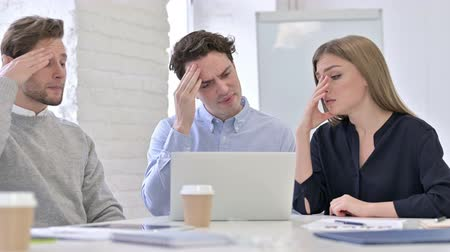 hardworking : Hardworking Creative Team Reacting to Failure on Laptop Stock Footage