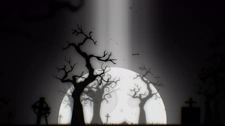 trik : Halloween spooky animation background motion graphics footage (white theme), with the spooky tree , moon , bats , zombie hand and graveyard. Dostupné videozáznamy