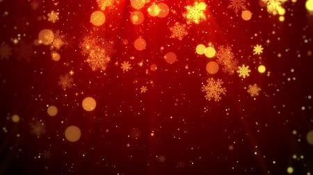 red background : Christmas background motion graphics footage (red theme), with the glittering particles snowflake falling and shine lights, looped.