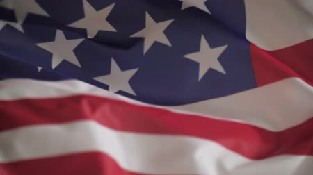 katonai : Flag of USA waving close up, slow motion Stock mozgókép