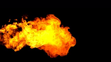 hearth : Fire flamethrower on black background slow motion Stock Footage