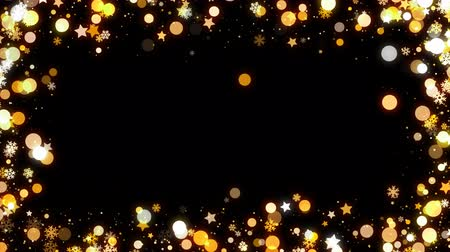 наложение : Gold Christmas snowflakes frames that you can use in your photo and video Стоковые видеозаписи