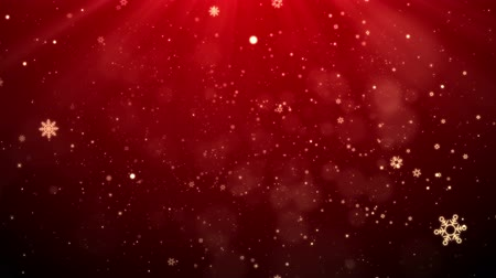 title : Red Christmas Snowflakes Falling Background, looped.