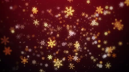 glorious : Red Flying Snowflakes Christmas Background, Christmas Background Looped. Stock Footage