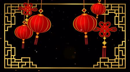 ano novo chinês : Chinese new year greetings background looped with alpha, transparency. Vídeos