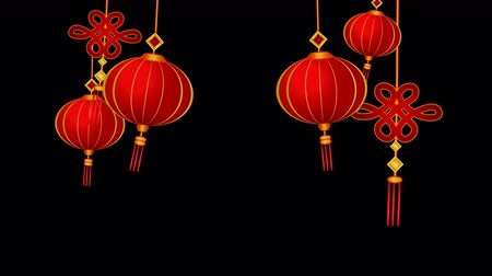 cny : Lanterns and chinese pendants on wind looped with alpha, transparency. Stock Footage