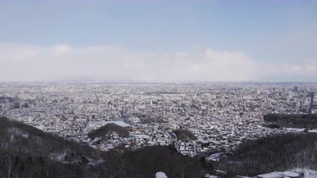резидент : Top view of city covered with snow in winter Стоковые видеозаписи
