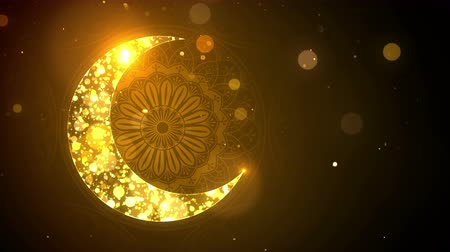 iftar : Islamic Eid Mubarak Ramadan background with crescent moon and bokeh loop. Stock Footage