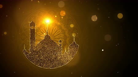 iftar : Ramadan background looped, gold color
