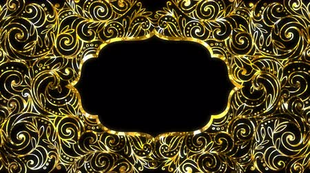 iftar : Gold Ramadan kareem frame background with space for your text. Alpha and looped. Stock Footage