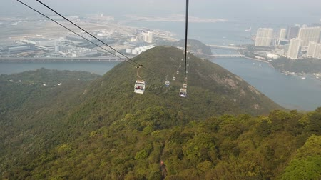 chair lift : Gondola cable car with mountain view landscape Stock Footage