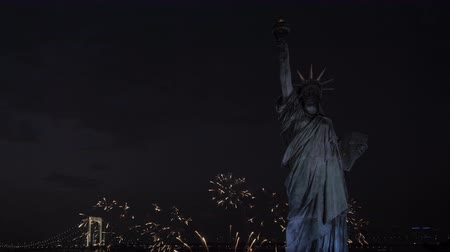 capitalism : Statue of Liberty at night with fireworks. Stock Footage