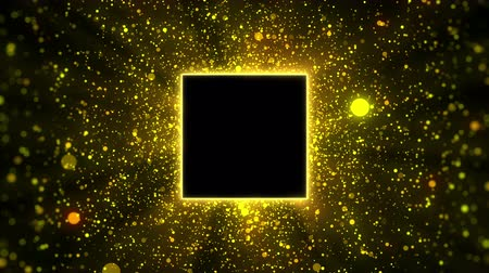 Gold particles with square copyspace background, looped. Stockvideo