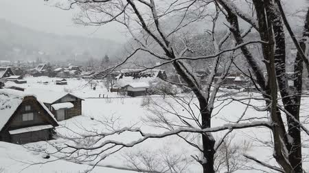 Snow falling in rural village in the valley, snow covered the whole village.