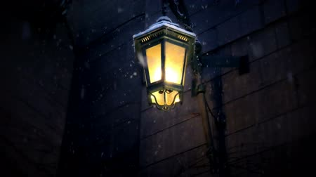 sokak lâmbası direği : Lamp with snow falling in winter night.