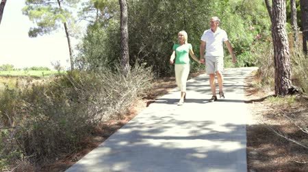 holding steady : Long shot of romantic senior couple holding hands as they walk along country path towards camera.