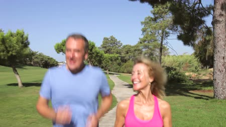 hareketli : Senior couple in park jogging towards and then past camera position.  Stok Video