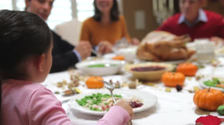 tablo : Camera tracks across table as extended family sit and enjoy thanksgiving dinner.