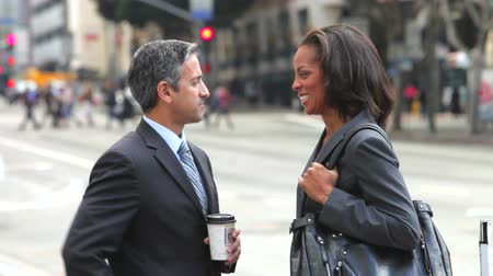 business man : Businessman and businesswoman talk in the street before shaking hands. Stock Footage