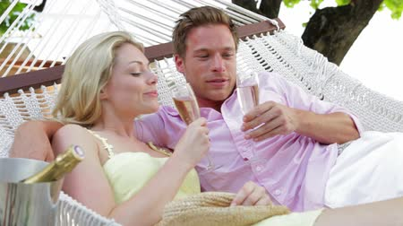 strand : Couple Relaxing In Beach Hammock Drinking Champagne