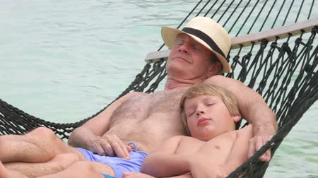 grandchild : Grandfather And Grandson Relaxing In Beach Hammock  Stock Footage