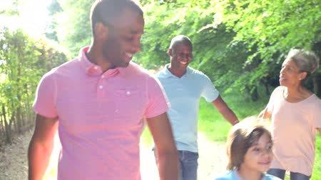 Multi Generation African American Family Walking Through Countryside