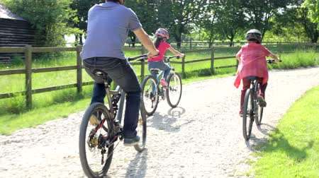 bicycle : Father And Children On Cycle Ride In Countryside