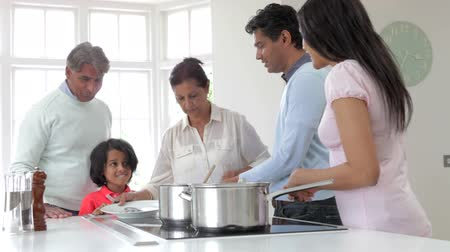 hint : Multi Generation Indian Family Cooking Meal At Home