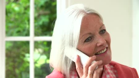 people talking : Slow Motion Sequence Of Middle Aged Woman On Phone Stock Footage