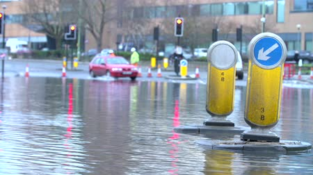 floods : Flooded Road Junction Under Repair