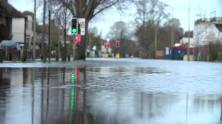 floods : Slow Motion Sequence Of Flood On Road