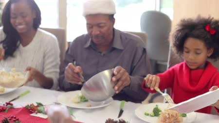 black : Multi-Generation Family Enjoying Christmas Meal Together
