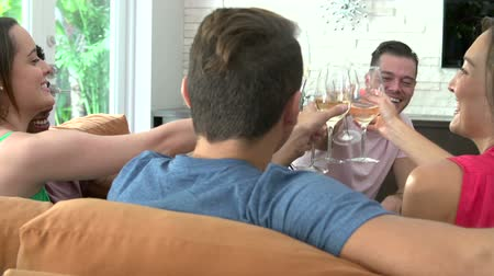 vinho : Group Of Friends Relaxing On Sofa And Drinking Wine