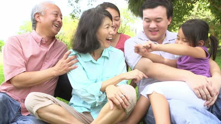 asian family : Multi Generation Family Playing Game In Park Together