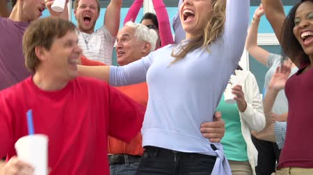 kutluyor : Spectators Cheering At Outdoor Sports Event In Slow Motion