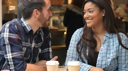 társkereső : Couple On Date In Café Talking Together