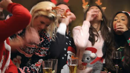 bares : Group Of Friends Enjoying Christmas Drinks In Bar
