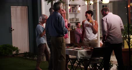 festa : Group Of Friends Enjoying Outdoor Evening Drinks Party