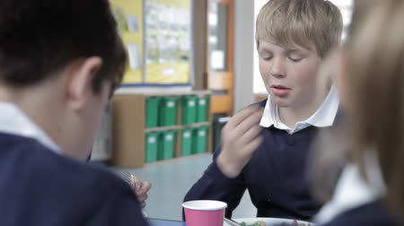 educar : Schoolboy Sitting At Table Eating Lunch Stock Footage