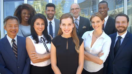 employee : Outdoor Portrait Of Multi-Cultural Business Team Shot On R3D Stock Footage