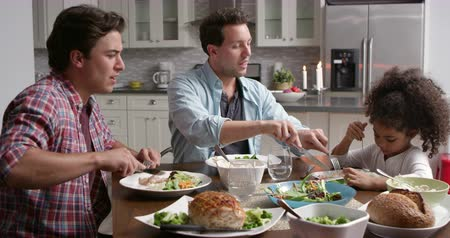 sexo : Male couple and their black daughter dining in the kitchen, shot on R3D
